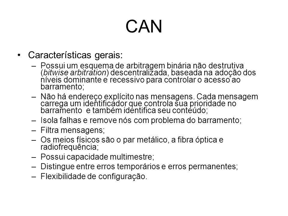 CAN Características gerais: