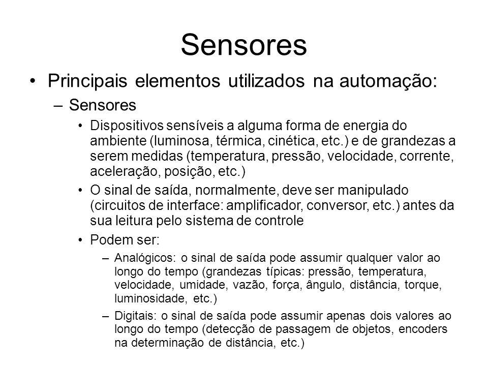 Sensores Principais elementos utilizados na automação: Sensores
