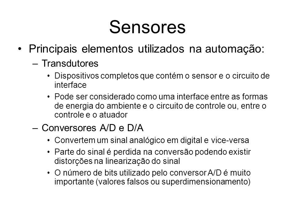 Sensores Principais elementos utilizados na automação: Transdutores