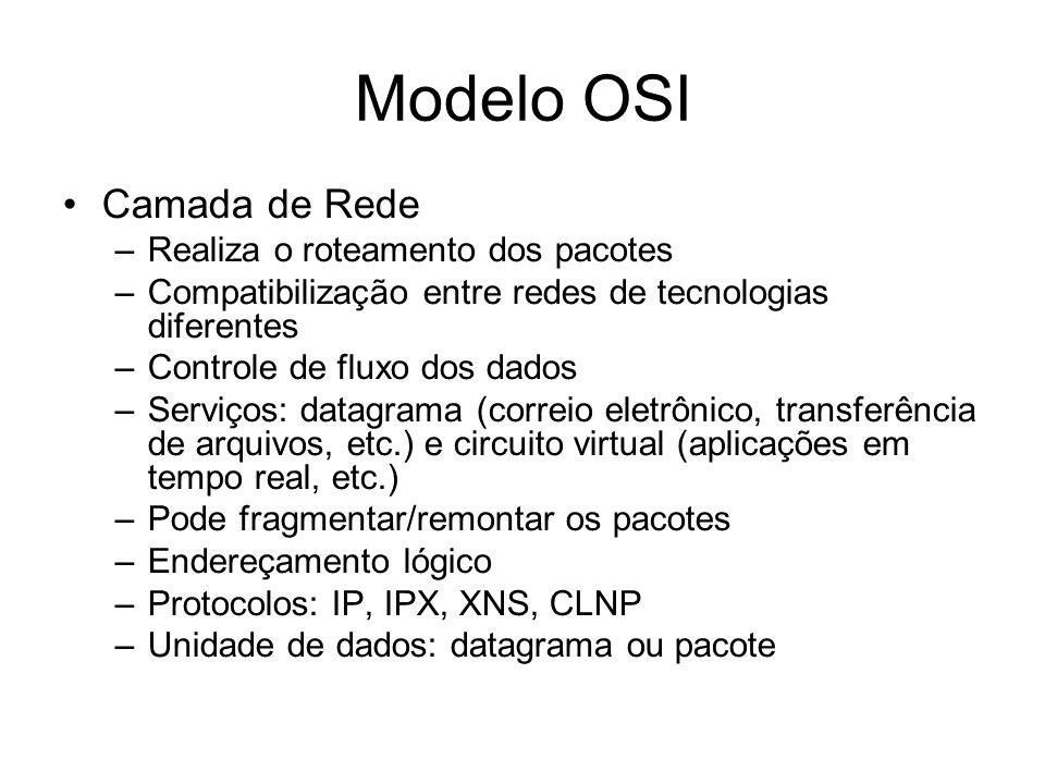Modelo OSI Camada de Rede Realiza o roteamento dos pacotes