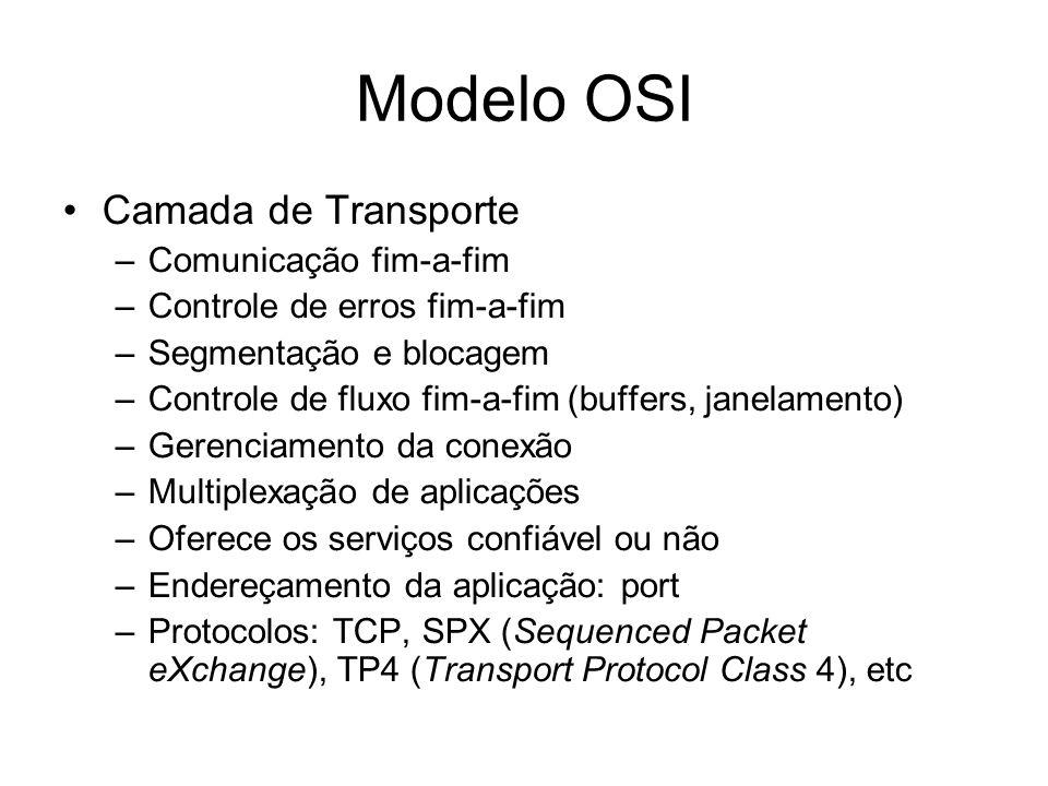Modelo OSI Camada de Transporte Comunicação fim-a-fim