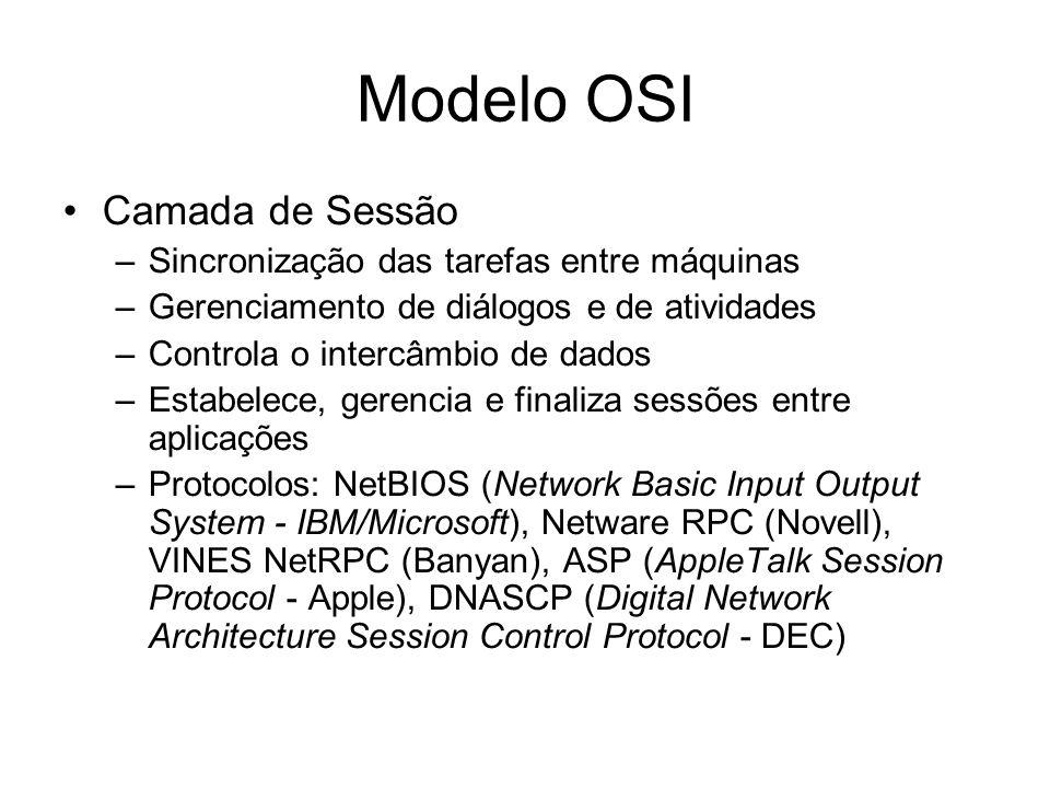 Modelo OSI Camada de Sessão Sincronização das tarefas entre máquinas