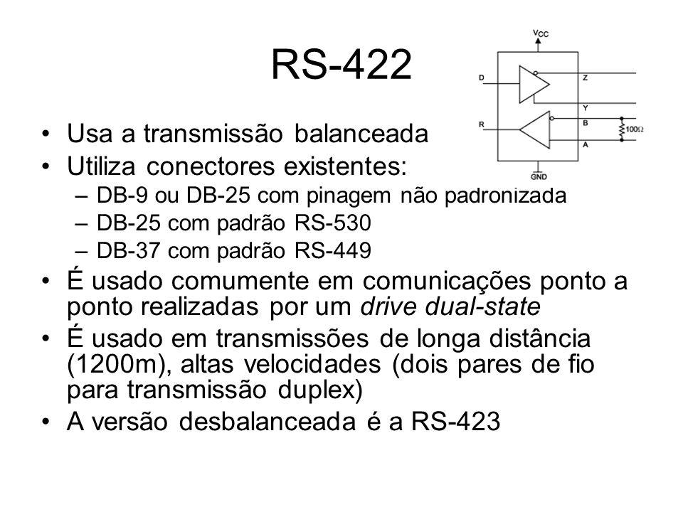 RS-422 Usa a transmissão balanceada Utiliza conectores existentes:
