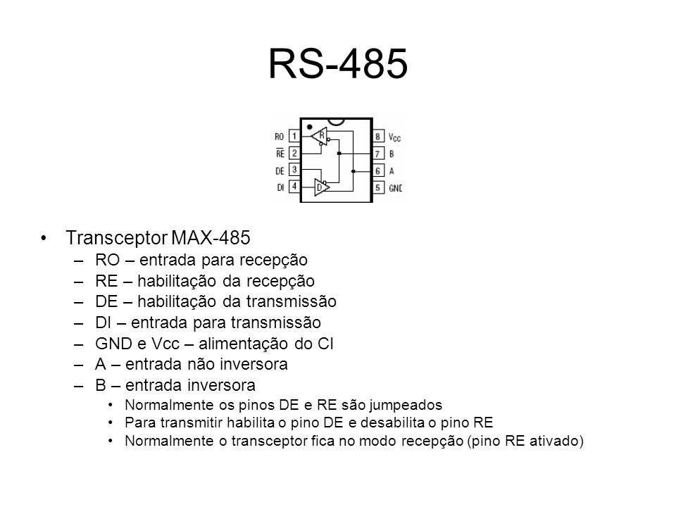 RS-485 Transceptor MAX-485 RO – entrada para recepção