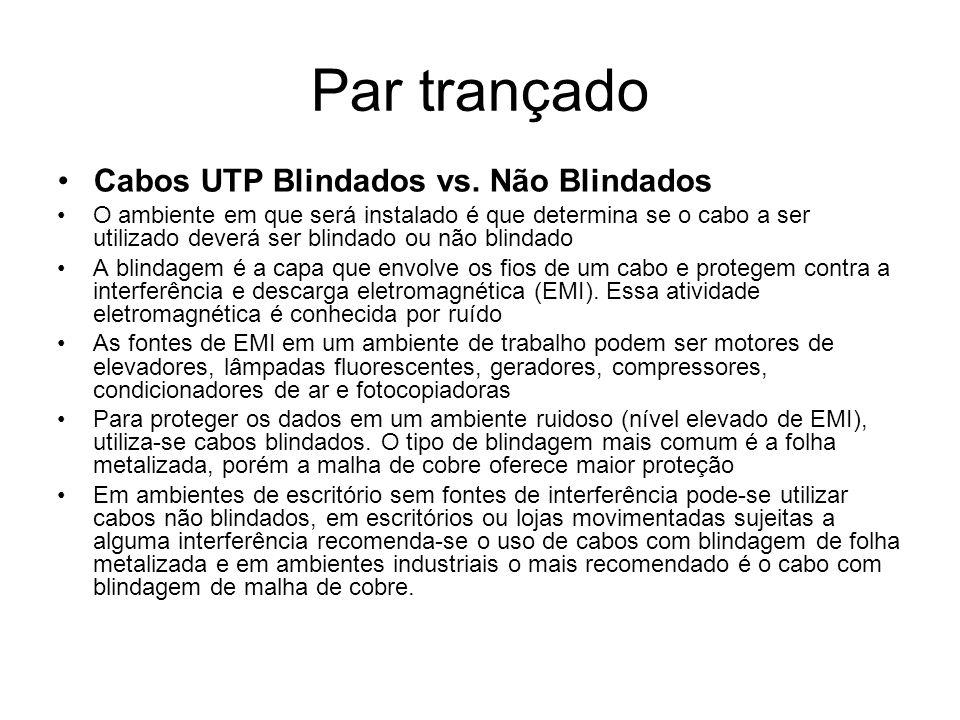 Par trançado Cabos UTP Blindados vs. Não Blindados
