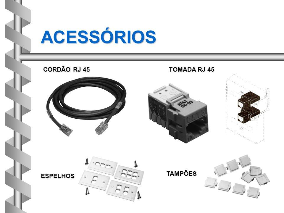 ACESSÓRIOS CORDÃO RJ 45 TOMADA RJ 45 TAMPÕES ESPELHOS