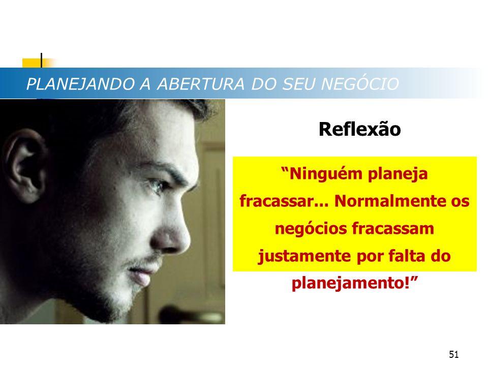 Reflexão PLANEJANDO A ABERTURA DO SEU NEGÓCIO