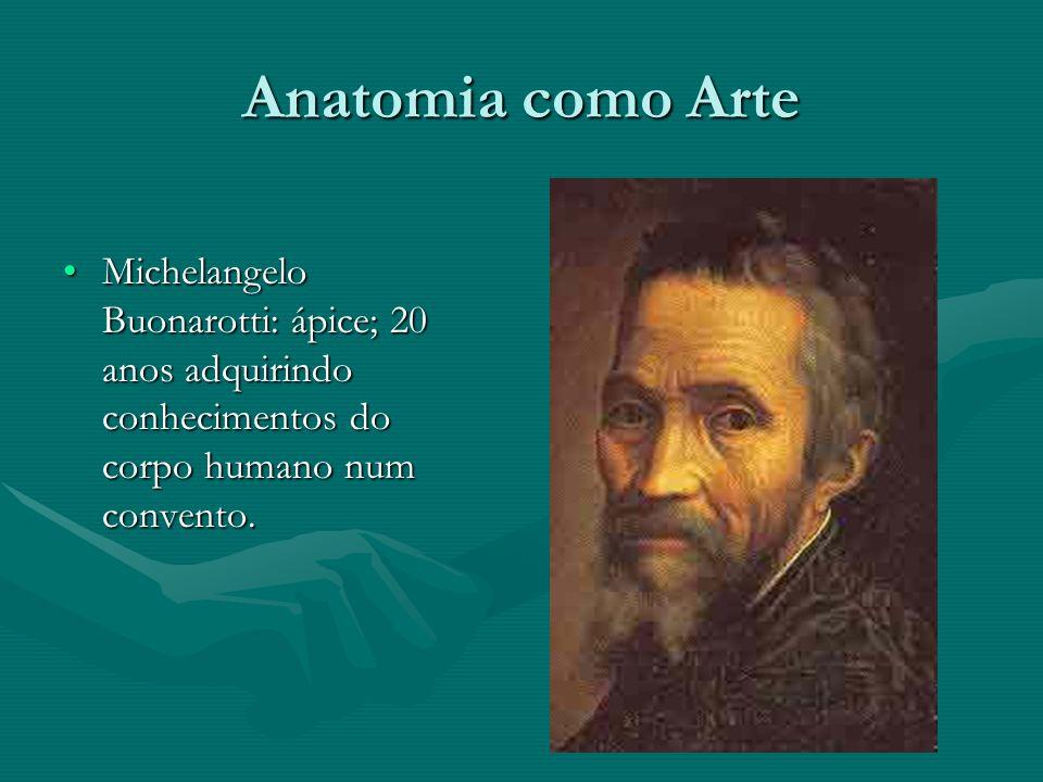 Anatomia como Arte Michelangelo Buonarotti: ápice; 20 anos adquirindo conhecimentos do corpo humano num convento.