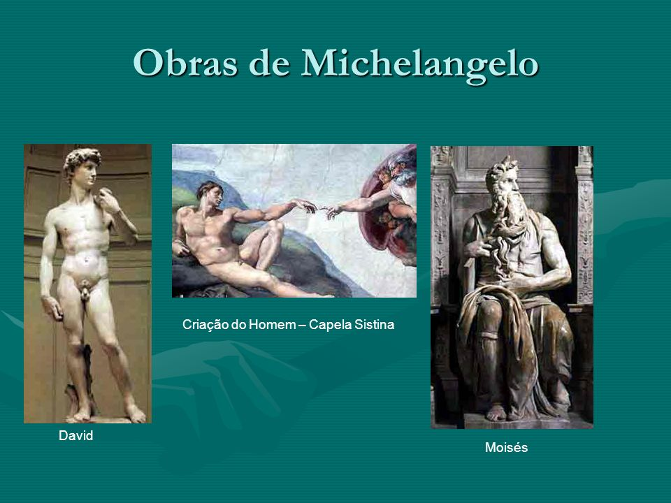 Obras de Michelangelo Criação do Homem – Capela Sistina David Moisés