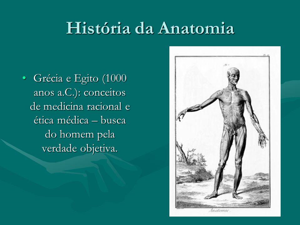 História da Anatomia Grécia e Egito (1000 anos a.C.): conceitos de medicina racional e ética médica – busca do homem pela verdade objetiva.