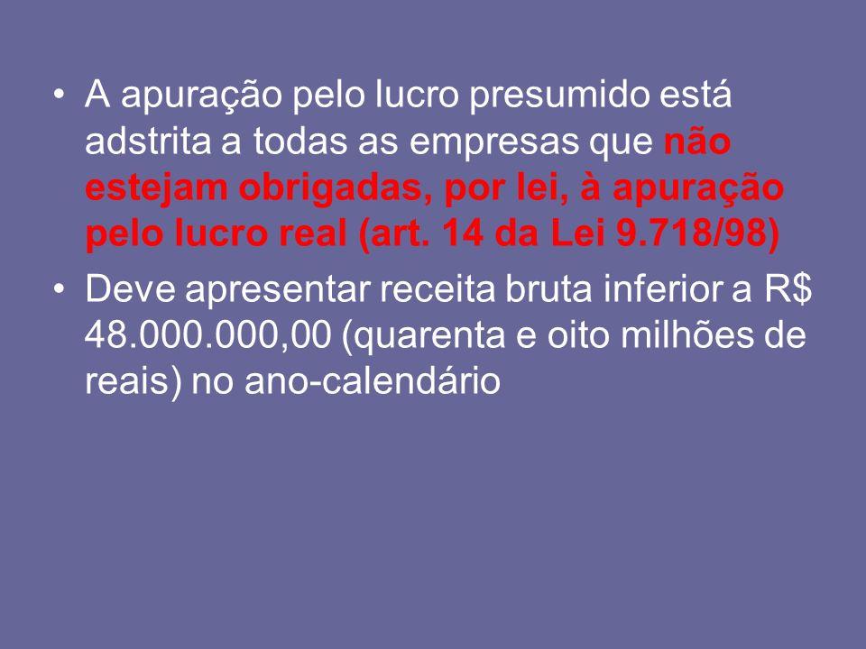 A apuração pelo lucro presumido está adstrita a todas as empresas que não estejam obrigadas, por lei, à apuração pelo lucro real (art. 14 da Lei 9.718/98)
