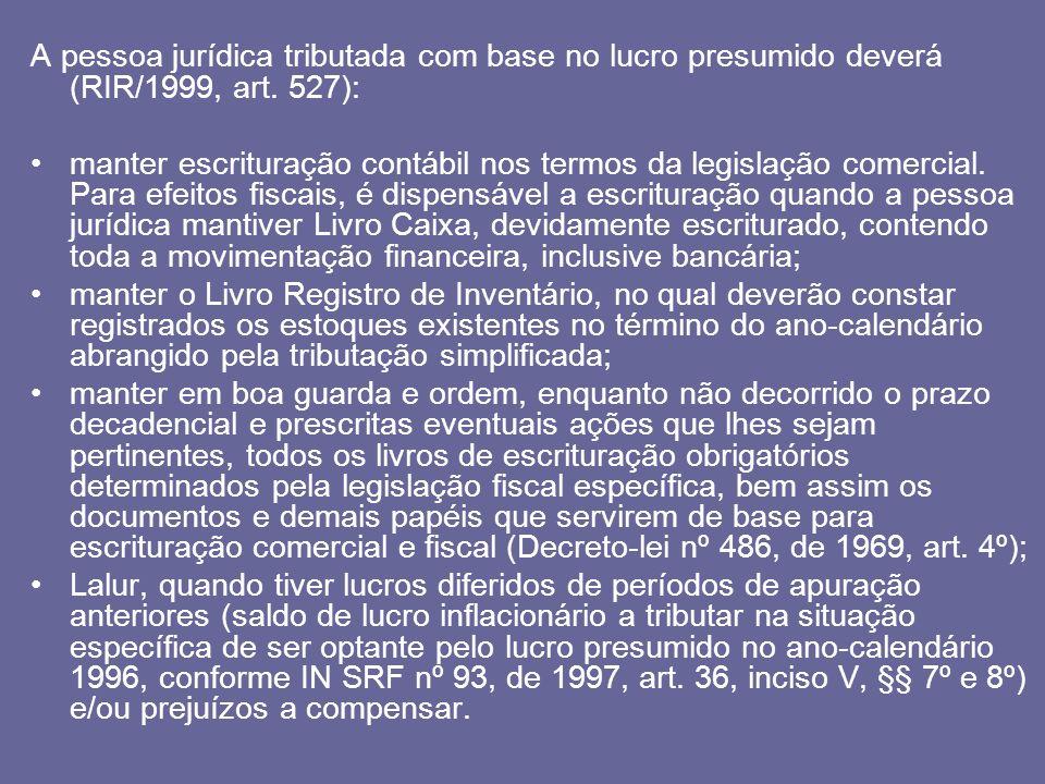 A pessoa jurídica tributada com base no lucro presumido deverá (RIR/1999, art. 527):