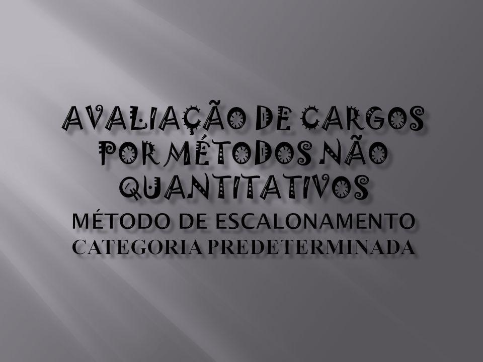 AVALIAÇÃO DE CARGOS POR MÉTODOS NÃO QUANTITATIVOS Método de Escalonamento Categoria predeterminada