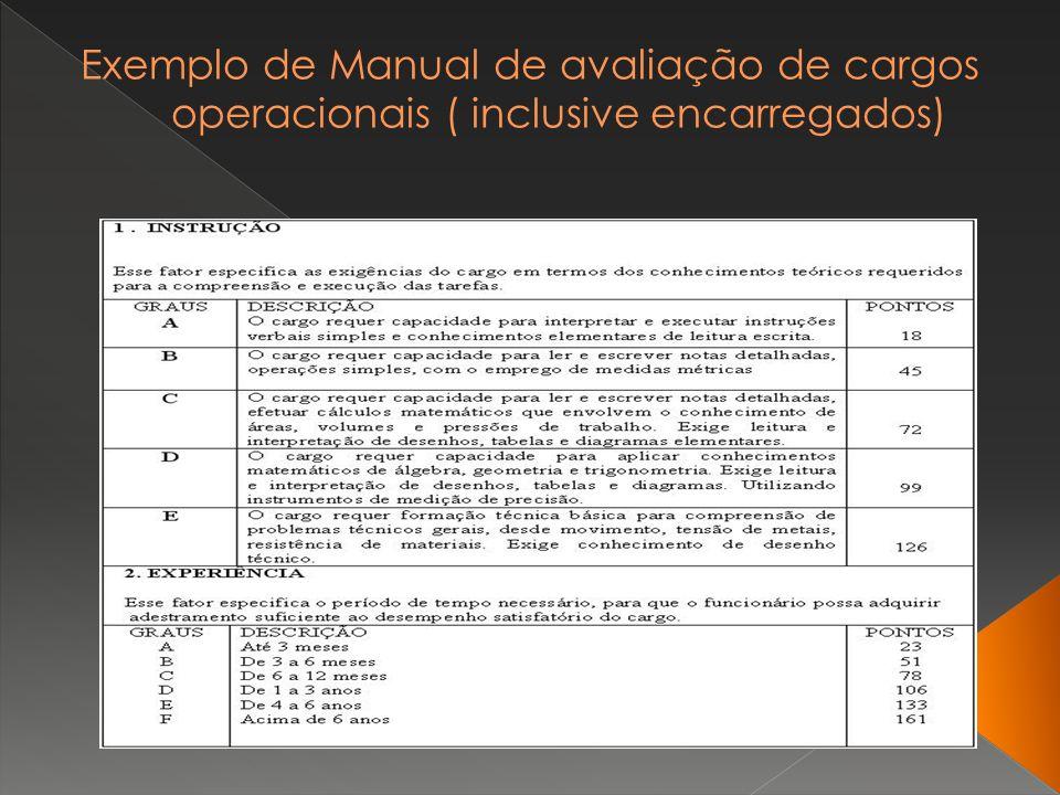Exemplo de Manual de avaliação de cargos operacionais ( inclusive encarregados)