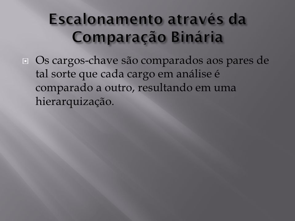 Escalonamento através da Comparação Binária