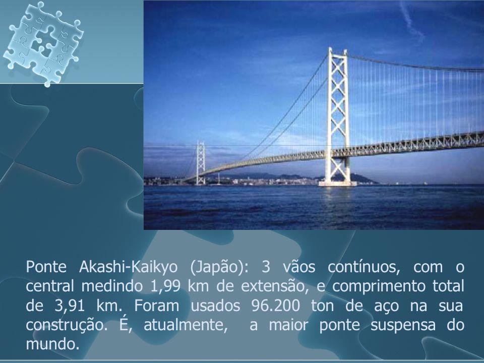 Ponte Akashi-Kaikyo (Japão): 3 vãos contínuos, com o central medindo 1,99 km de extensão, e comprimento total de 3,91 km.