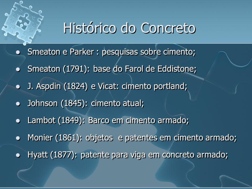 Histórico do Concreto Smeaton e Parker : pesquisas sobre cimento;