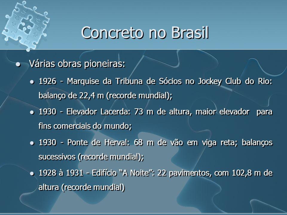 Concreto no Brasil Várias obras pioneiras: