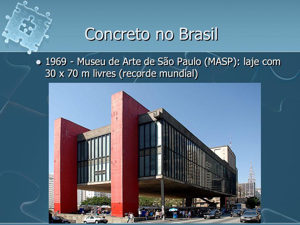 Concreto no Brasil1969 - Museu de Arte de São Paulo (MASP): laje com 30 x 70 m livres (recorde mundial)