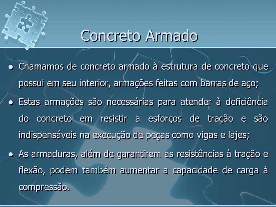Concreto ArmadoChamamos de concreto armado à estrutura de concreto que possui em seu interior, armações feitas com barras de aço;