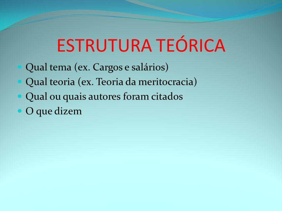 ESTRUTURA TEÓRICA Qual tema (ex. Cargos e salários)