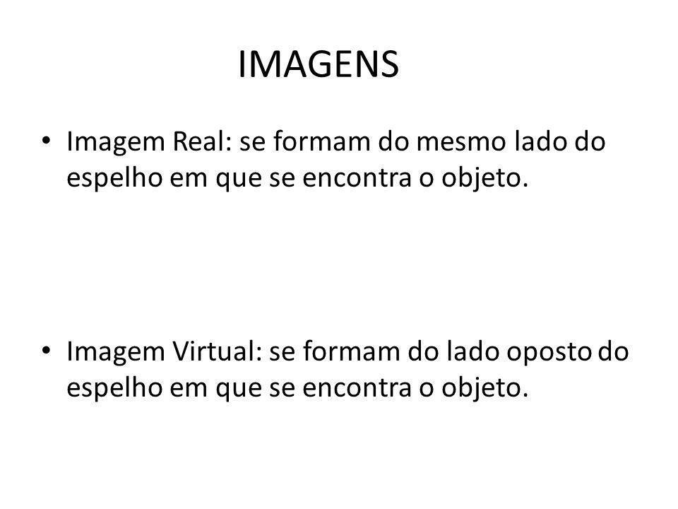 IMAGENS Imagem Real: se formam do mesmo lado do espelho em que se encontra o objeto.
