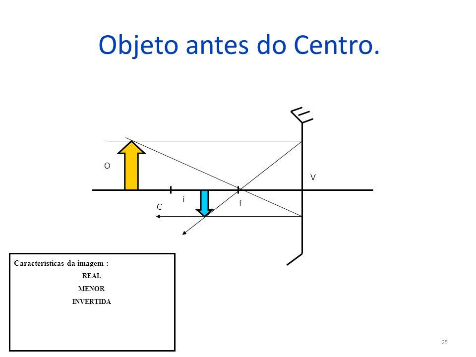 Objeto antes do Centro. O V i f C Características da imagem : REAL