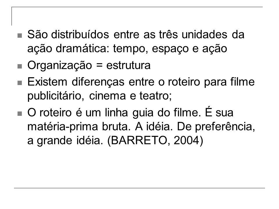 São distribuídos entre as três unidades da ação dramática: tempo, espaço e ação
