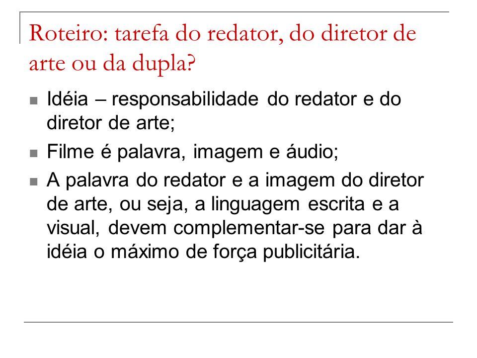 Roteiro: tarefa do redator, do diretor de arte ou da dupla