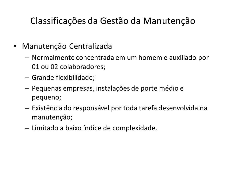 Classificações da Gestão da Manutenção