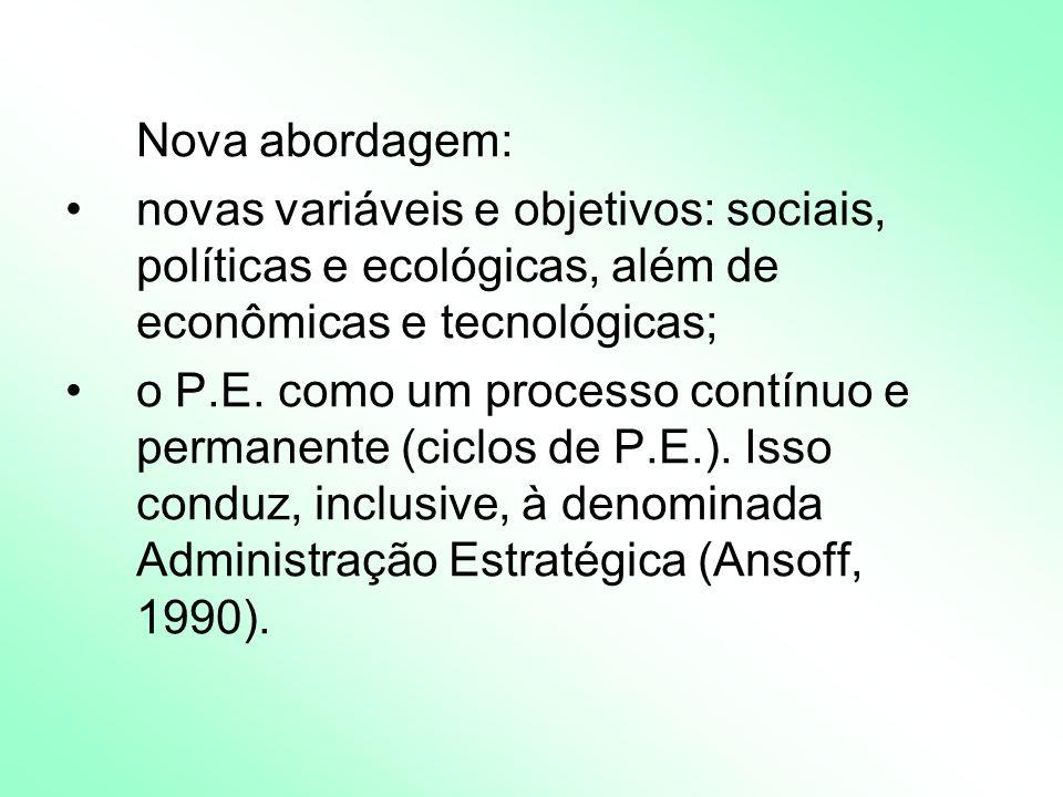 Nova abordagem: novas variáveis e objetivos: sociais, políticas e ecológicas, além de econômicas e tecnológicas;