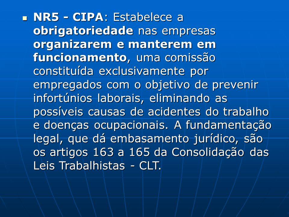 NR5 - CIPA: Estabelece a obrigatoriedade nas empresas organizarem e manterem em funcionamento, uma comissão constituída exclusivamente por empregados com o objetivo de prevenir infortúnios laborais, eliminando as possíveis causas de acidentes do trabalho e doenças ocupacionais.