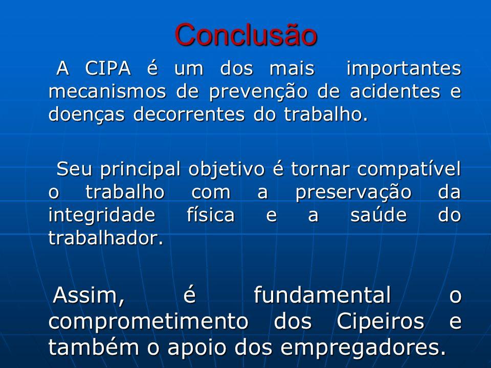 ConclusãoA CIPA é um dos mais importantes mecanismos de prevenção de acidentes e doenças decorrentes do trabalho.