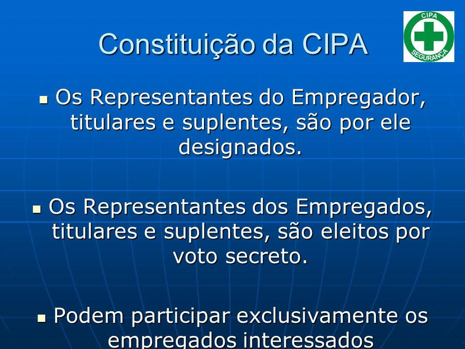 Constituição da CIPA Os Representantes do Empregador, titulares e suplentes, são por ele designados.