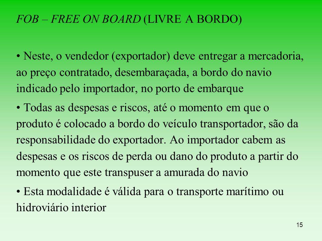 FOB – FREE ON BOARD (LIVRE A BORDO)