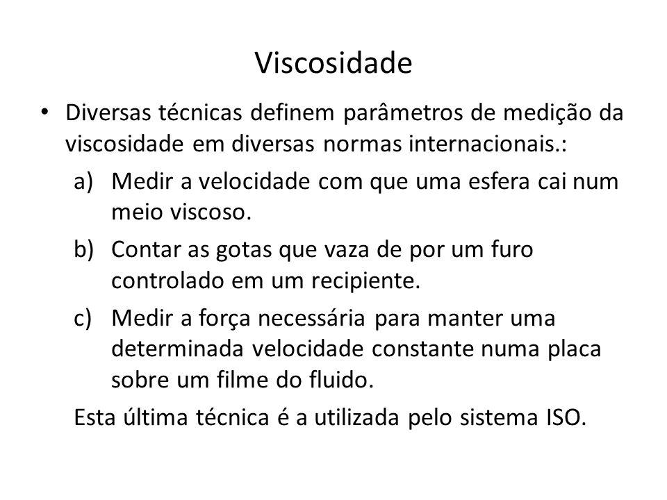 Viscosidade Diversas técnicas definem parâmetros de medição da viscosidade em diversas normas internacionais.: