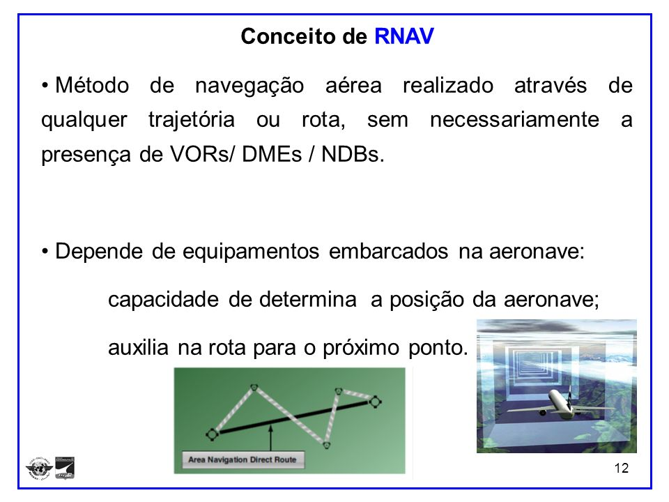 Conceito de RNAVMétodo de navegação aérea realizado através de qualquer trajetória ou rota, sem necessariamente a presença de VORs/ DMEs / NDBs.