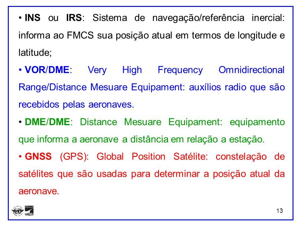 INS ou IRS: Sistema de navegação/referência inercial: informa ao FMCS sua posição atual em termos de longitude e latitude;