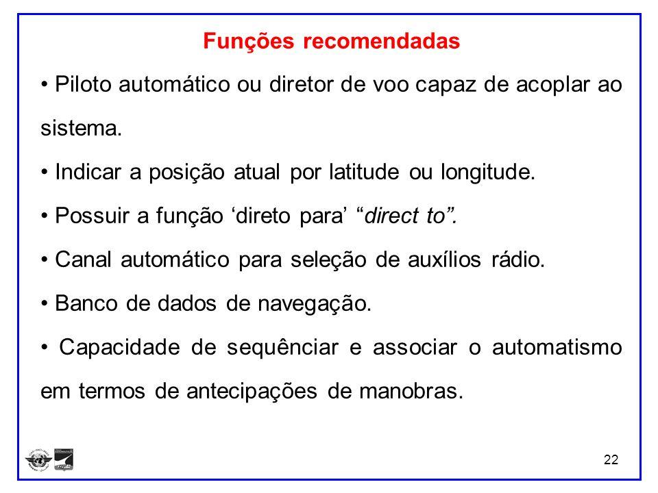 Funções recomendadas• Piloto automático ou diretor de voo capaz de acoplar ao sistema. • Indicar a posição atual por latitude ou longitude.