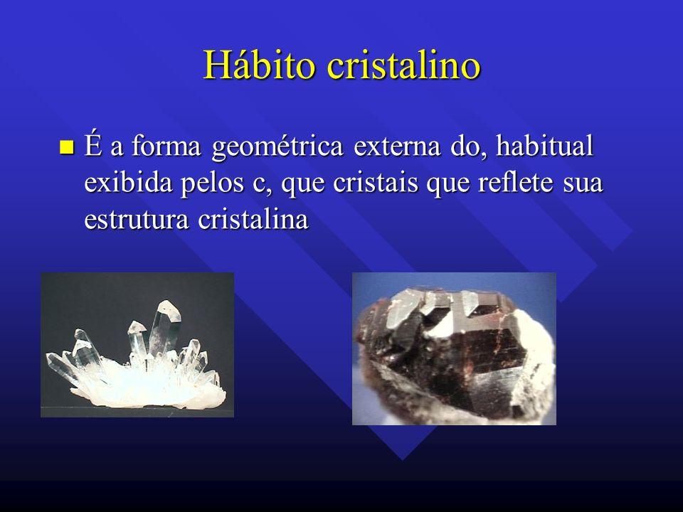 Hábito cristalino É a forma geométrica externa do, habitual exibida pelos c, que cristais que reflete sua estrutura cristalina.