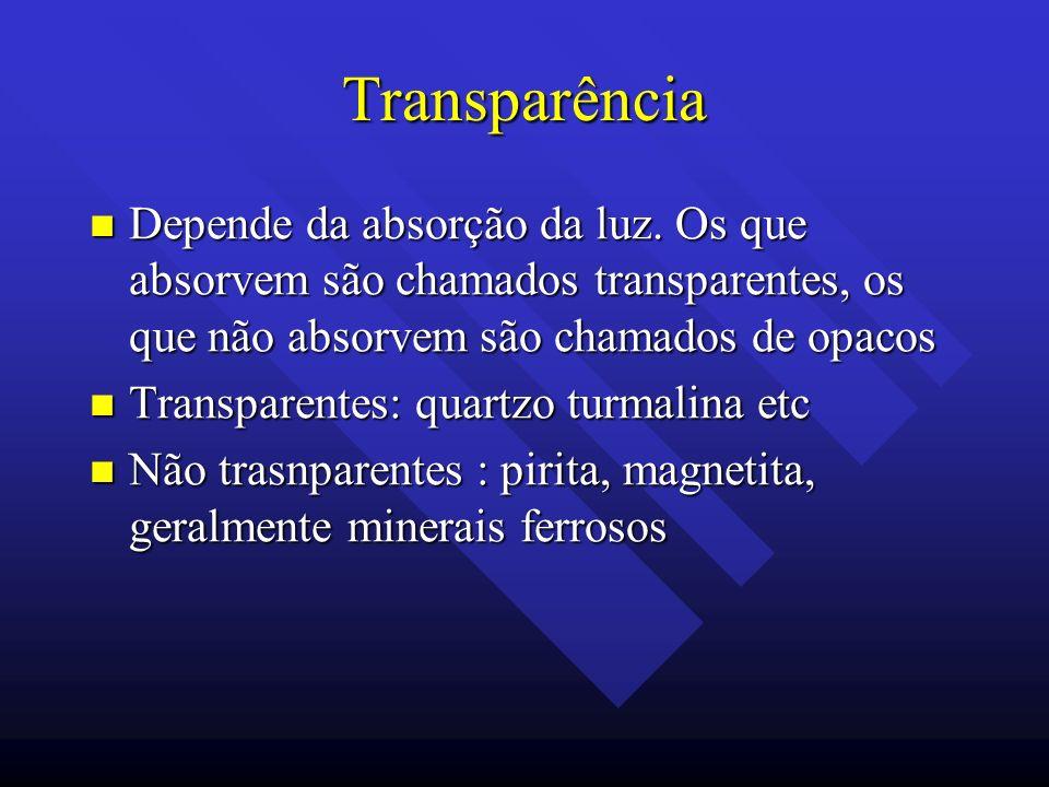 Transparência Depende da absorção da luz. Os que absorvem são chamados transparentes, os que não absorvem são chamados de opacos.
