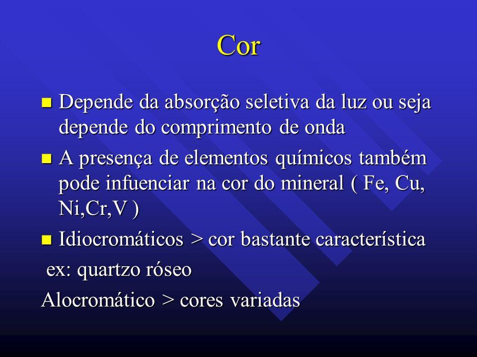 Cor Depende da absorção seletiva da luz ou seja depende do comprimento de onda.