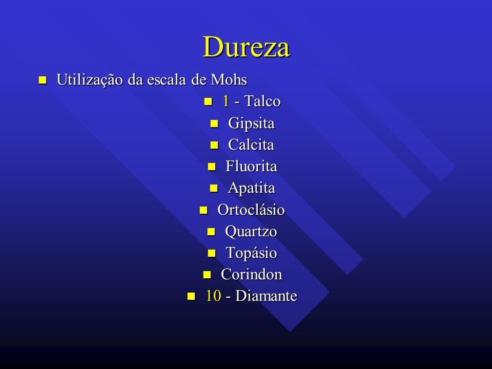 Dureza Utilização da escala de Mohs 1 - Talco Gipsita Calcita Fluorita
