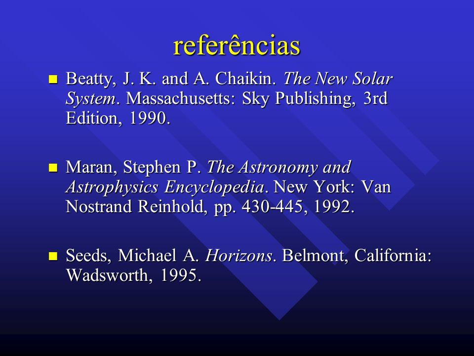 referênciasBeatty, J. K. and A. Chaikin. The New Solar System. Massachusetts: Sky Publishing, 3rd Edition, 1990.