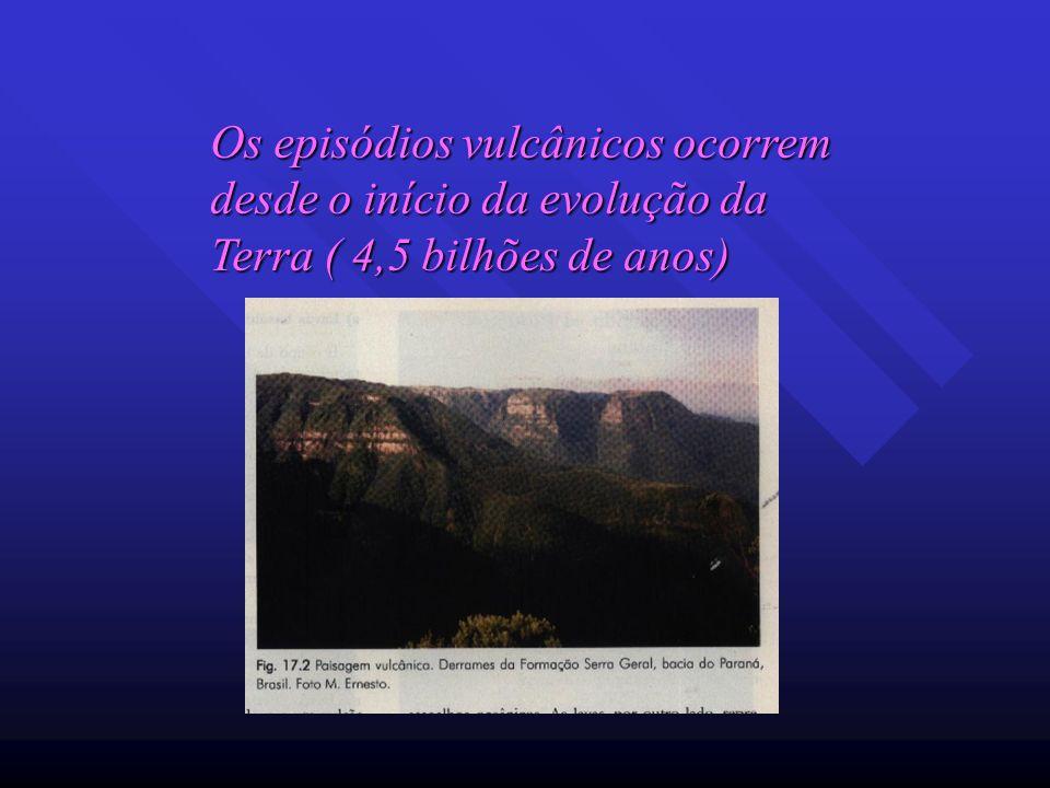 Os episódios vulcânicos ocorrem desde o início da evolução da Terra ( 4,5 bilhões de anos)