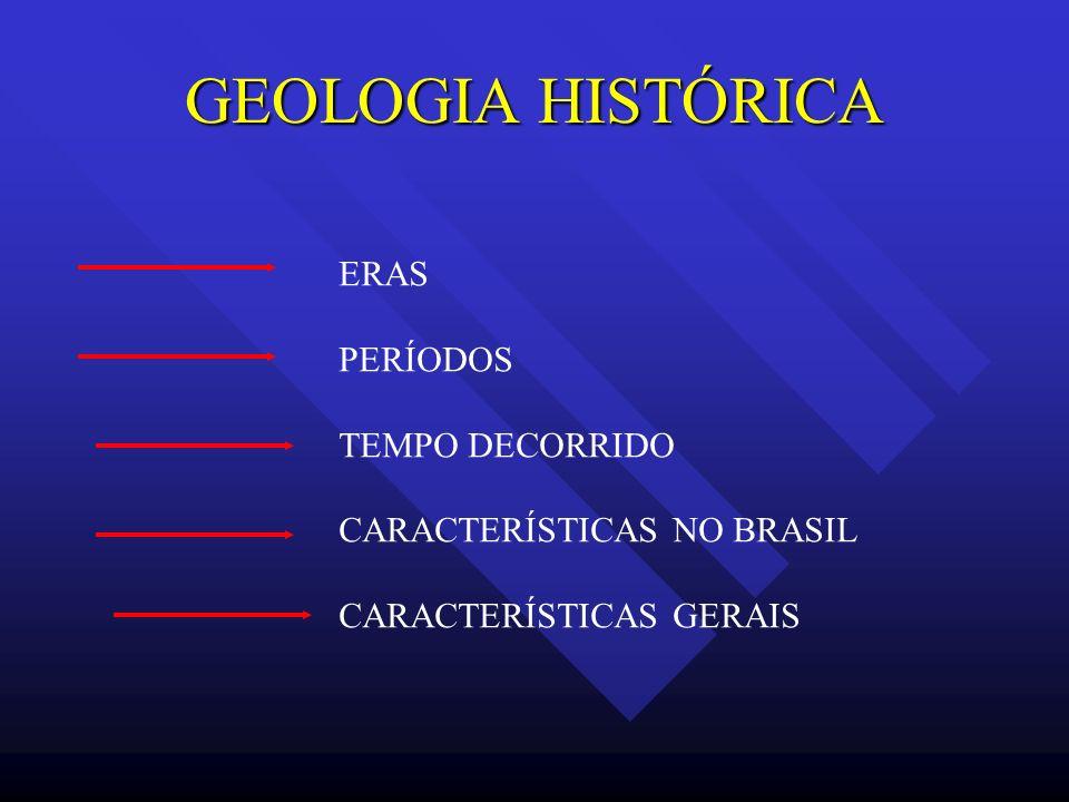 GEOLOGIA HISTÓRICA ERAS PERÍODOS TEMPO DECORRIDO