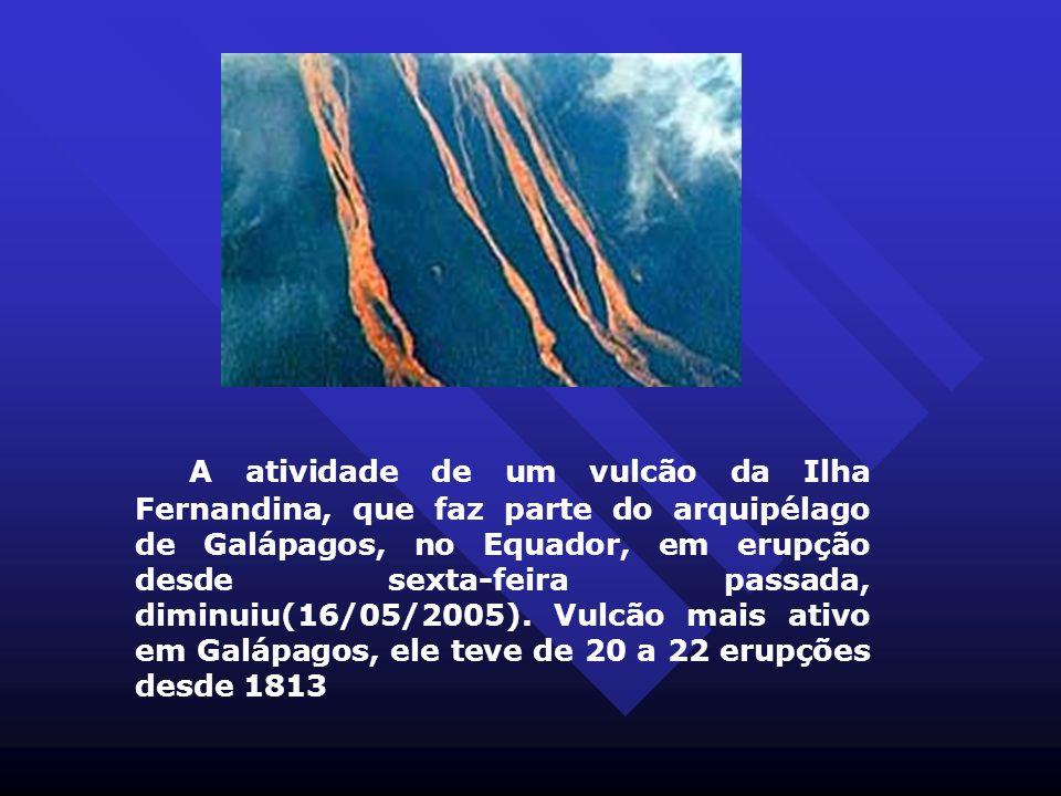 A atividade de um vulcão da Ilha Fernandina, que faz parte do arquipélago de Galápagos, no Equador, em erupção desde sexta-feira passada, diminuiu(16/05/2005). Vulcão mais ativo em Galápagos, ele teve de 20 a 22 erupções desde 1813