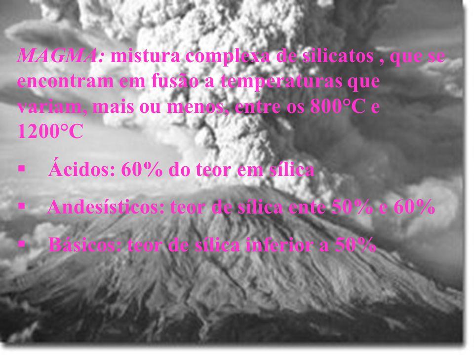 MAGMA: mistura complexa de silicatos , que se encontram em fusão a temperaturas que variam, mais ou menos, entre os 800°C e 1200°C