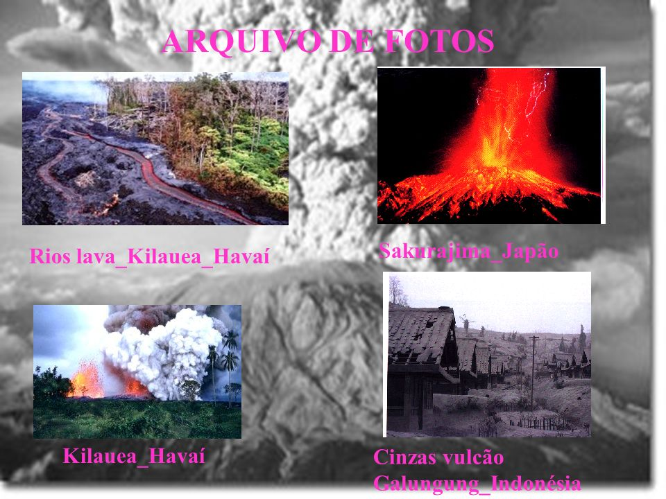 ARQUIVO DE FOTOS Sakurajima_Japão Rios lava_Kilauea_Havaí