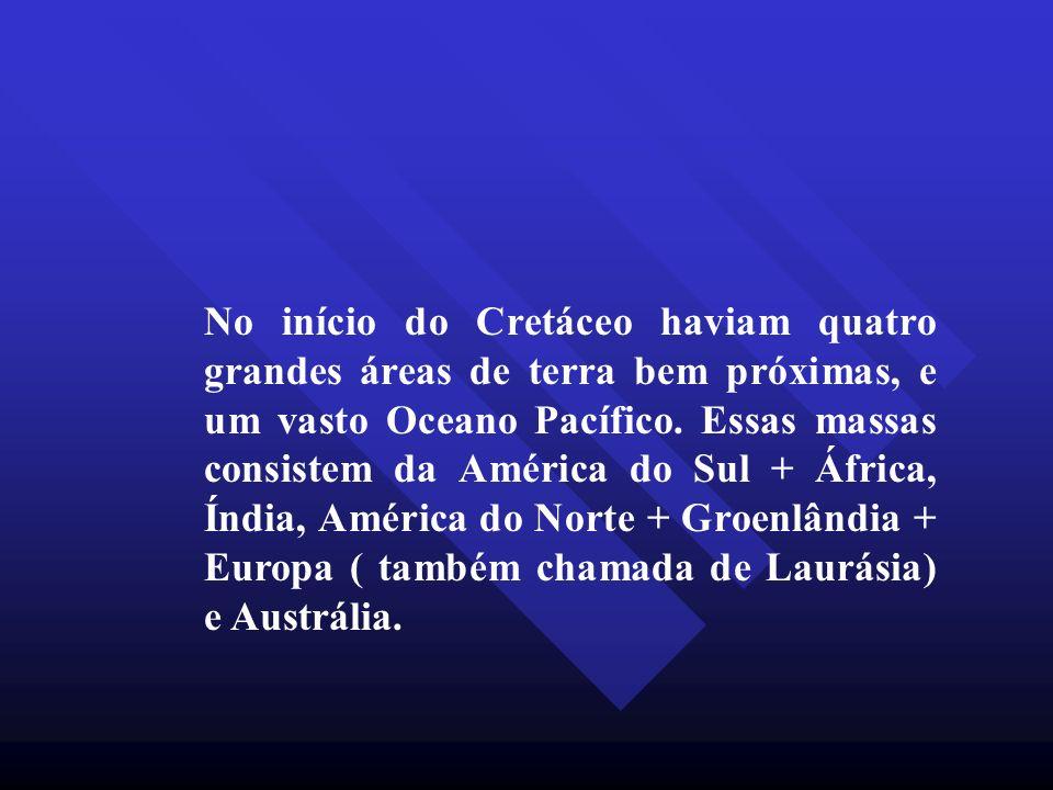 No início do Cretáceo haviam quatro grandes áreas de terra bem próximas, e um vasto Oceano Pacífico.